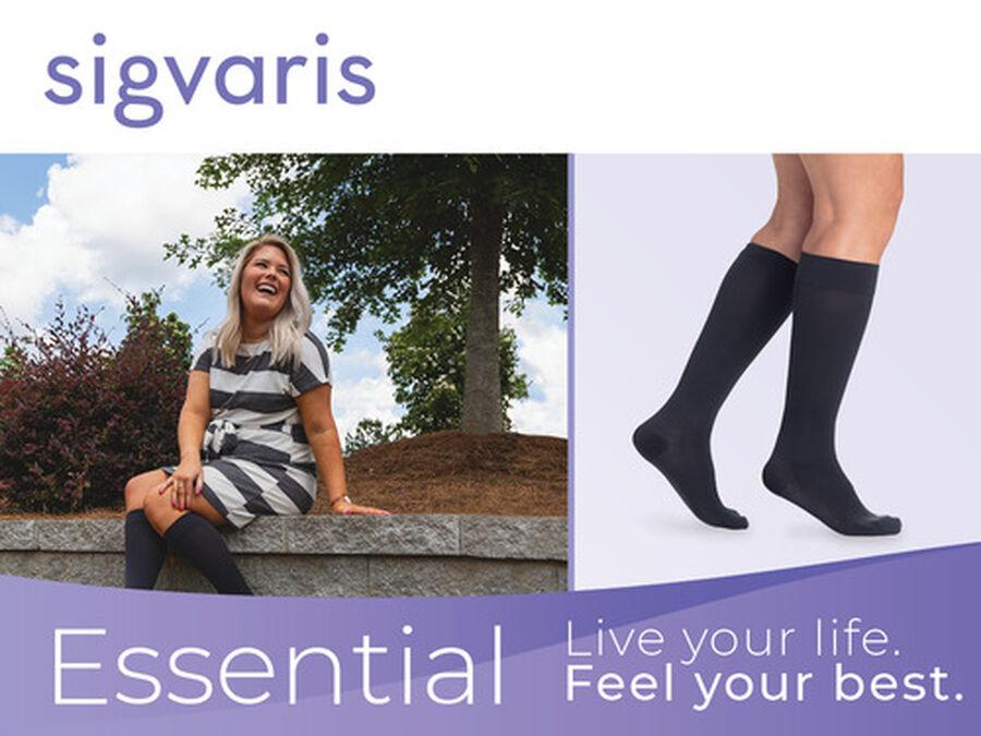 SIGVARIS Essential Cotton Men's Socks, Long, Black, , large image number 6