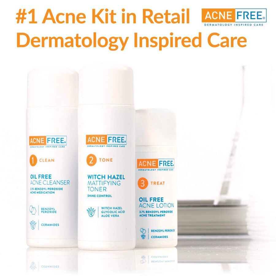 AcneFree Oil Free 24 HR Acne Clearing System, 3 Piece Kit, , large image number 6