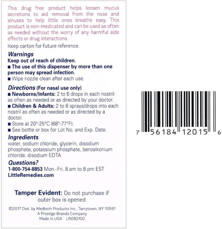 Little Remedies For Noses Saline Spray, 0.5 oz, , large image number 1
