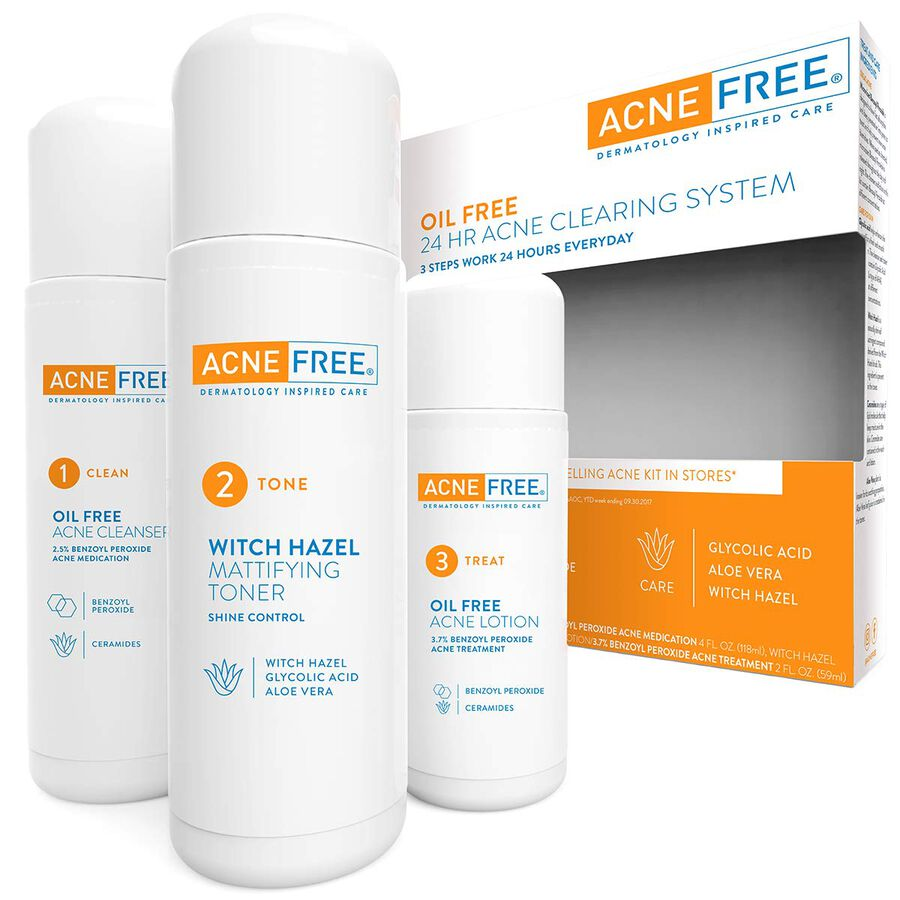 AcneFree Oil Free 24 HR Acne Clearing System, 3 Piece Kit, , large image number 1