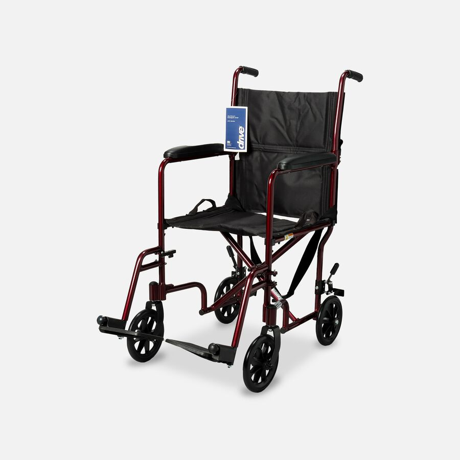 """Drive Lightweight Transport Chair, 19"""", Red , , large image number 0"""