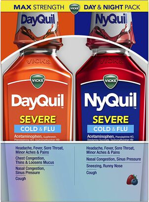 Vicks DayQuil/NyQuil Severe Cold and Flu, Combo Pack, 12 oz