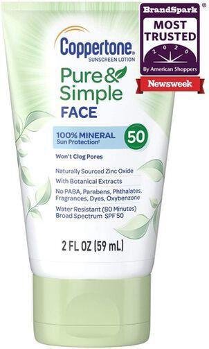 Coppertone Pure & Simple Face Sunscreen Lotion, SPF 50, 2 oz
