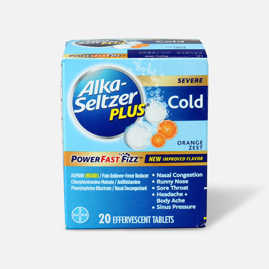Alka-Seltzer Plus Cold PowerFast Fizz, Effervescent Tablets, Orange Zest, 20ct, , large image number 0