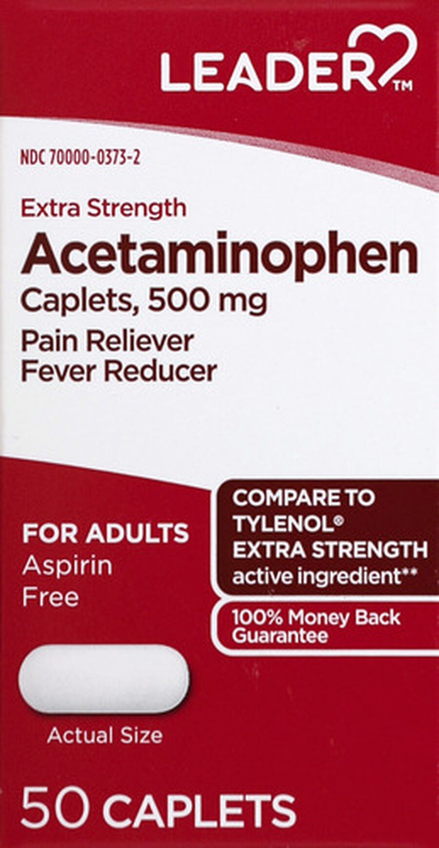 LEADER™ Acetaminophen Adult Extra Strength 500mg Caplets 50 ct, , large image number 0