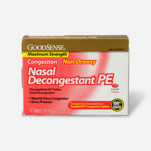 GoodSense® Nasal Decongestant PE 10 mg Non Drowsy Tablets, 72 ct