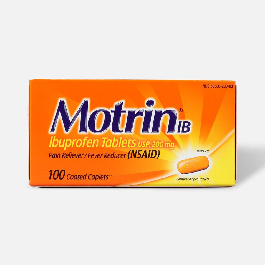 Motrin IB Ibuprofen Pain Reliever/Fever Reducer, 200 mg, Caplets, 100 ea, , large image number 0
