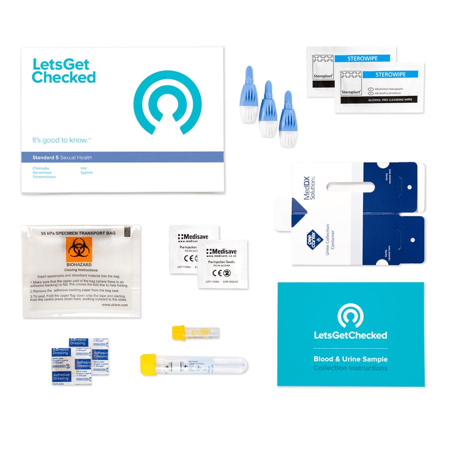 LetsGetChecked Standard 5 at Home STD Test, , large image number 1