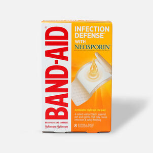 Band-Aid Adhesive Bandages Infection Defense With Neosporin Antibiotic Extra Large - 8ct