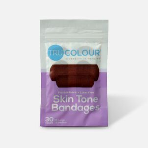 Tru-Colour Bandages Flexible Fabric Bandages, Dark Shade 30 ct