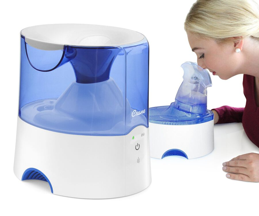 Crane Classic 2-in-1 Warm Mist Humidifier and Steam Inhaler, Blue/White, , large image number 1