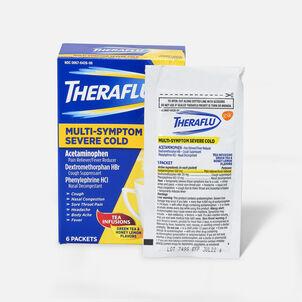 Theraflu Multi-Symptom Severe Cold Hot Liquid Powder Tea Infusions, Green Tea and Honey Lemon Flavors, 6 ct