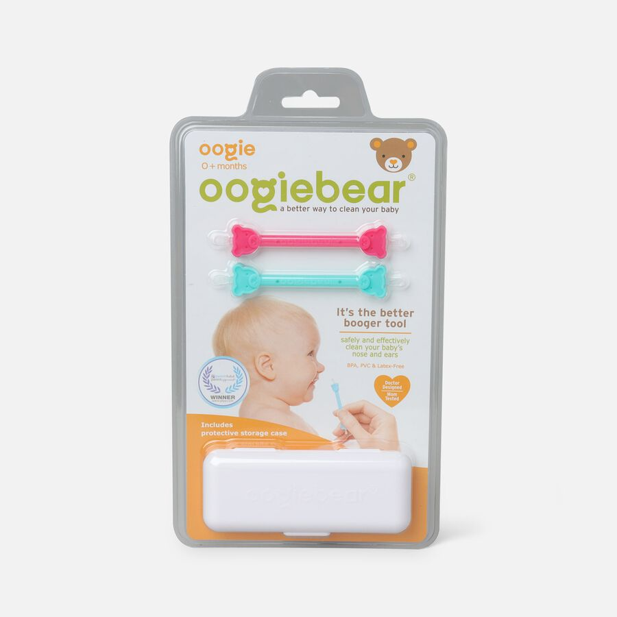 Oogiebear Baby Booger Picker with Case, 2-Pack, Raspberry/Seafoam, Raspberry/Seafoam, large image number 0