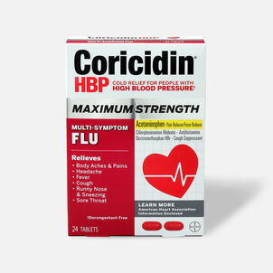 Coricidin HBP Max Strength Multi-Symptom Flu Tablets, 24ct