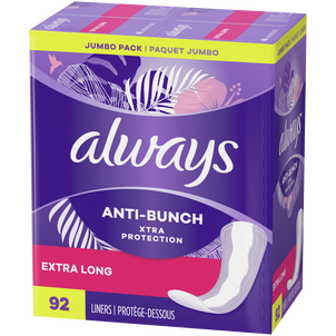 Always Anti-Bunch Xtra Protection Daily Liners Extra Long Unscented, 92 Count