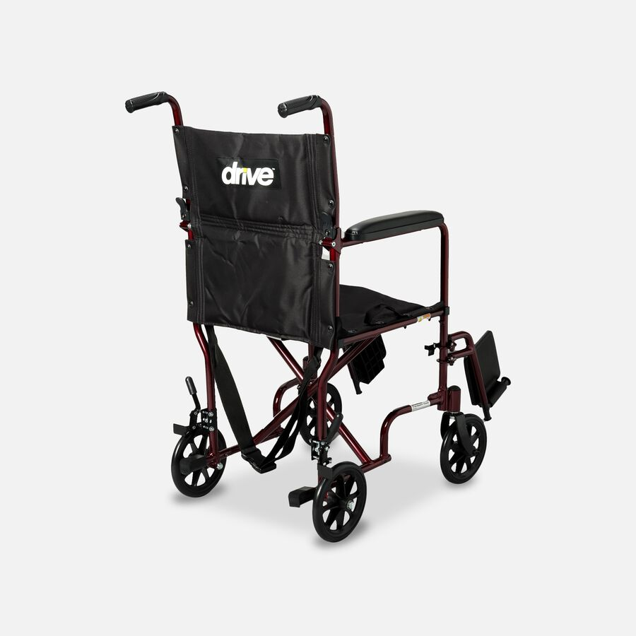 """Drive Lightweight Transport Chair, 19"""", Red , , large image number 2"""