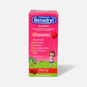 Children's Benadryl Oral Solution, Cherry Flavored, 8 fl. oz.