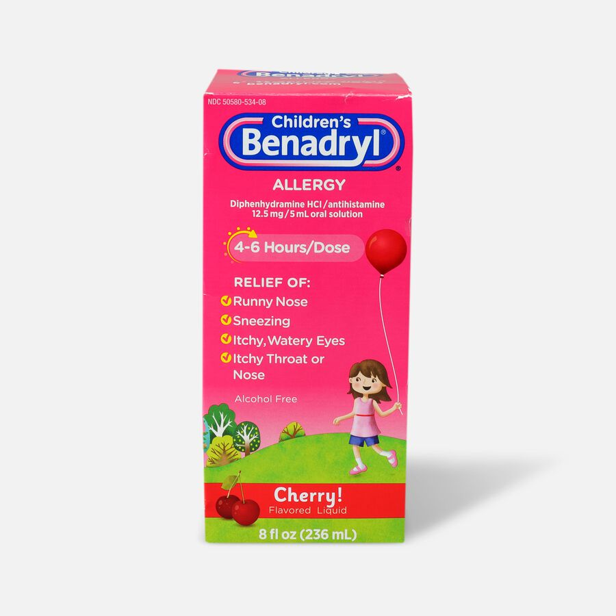 Children's Benadryl Oral Solution, Cherry Flavored, 8 fl. oz., , large image number 0