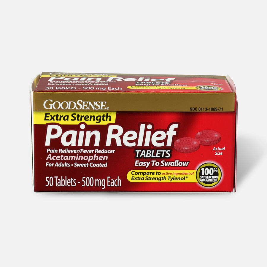 GoodSense® Pain Relief 500 mg Sweet Coated Easy to Swallow Tablet, 50 ct, , large image number 0