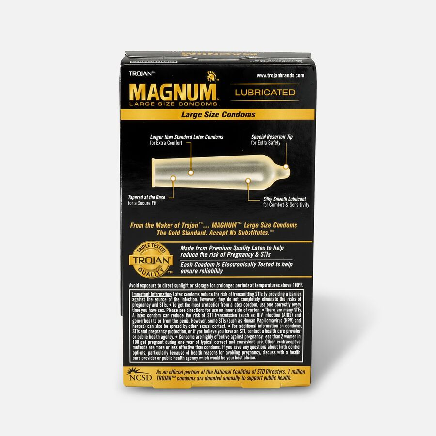 Trojan Magnum Lubricated Latex Condoms, Large 12 ea, , large image number 1