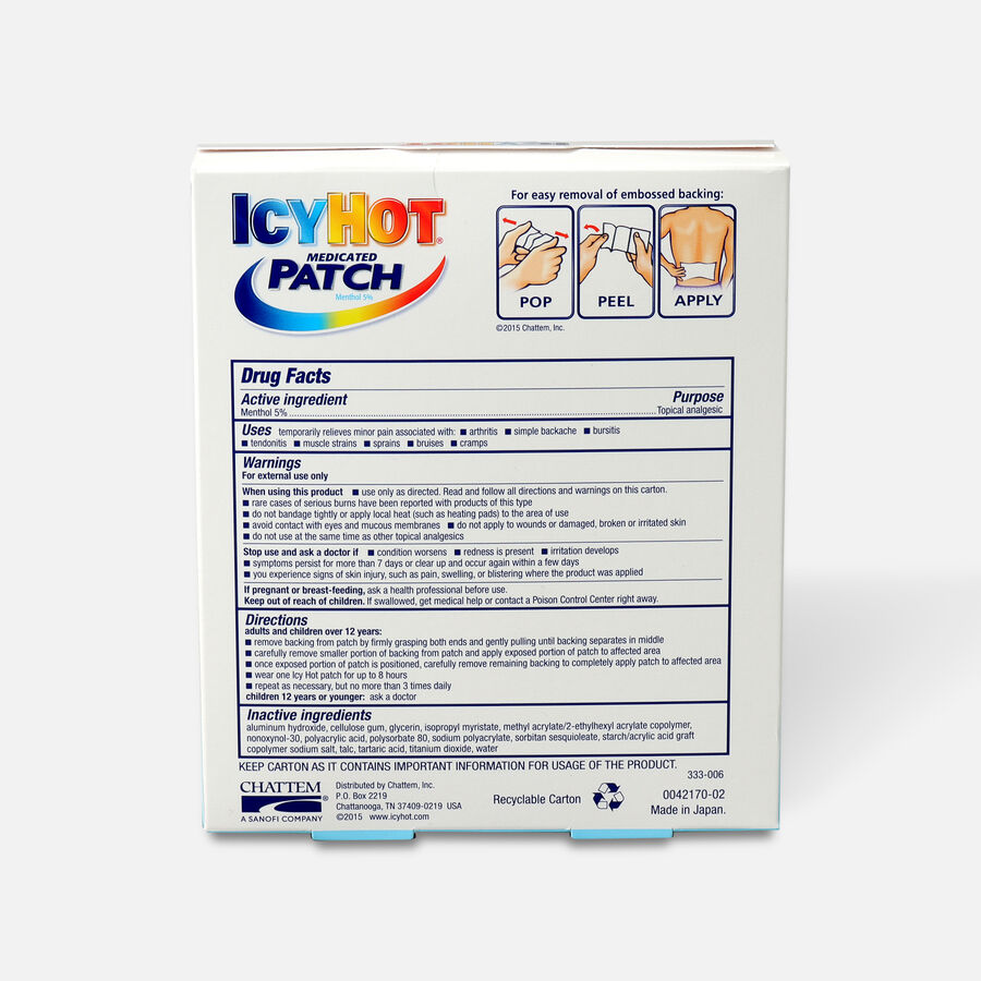 Icy Hot Medicated Back Patch, 5 ct., , large image number 1