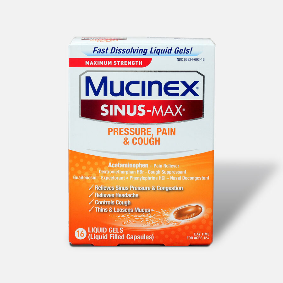 Mucinex Sinus-Max Liquid Gels Pressure, Pain and Cough, 16 ct, , large image number 0