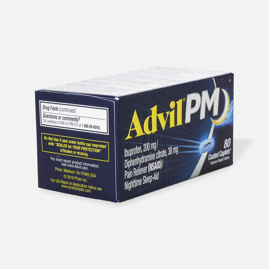 Advil Pain PM Reliever & Nighttime Sleep Aid Coated Caplets, 80 ct, , large image number 3