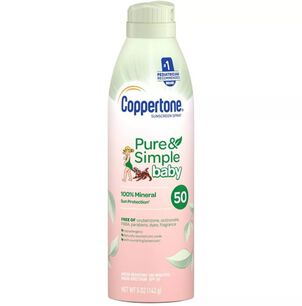 Coppertone Pure & Simple Baby Sunscreen Spray, SPF 50, 5 oz