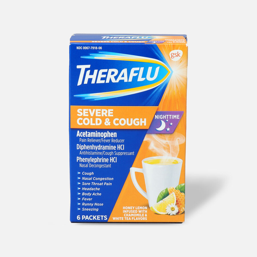 Theraflu Night Time Severe Cold & Cough Powder, Honey Lemon Infused with White Tea and Chamomile, 6 ct, , large image number 0