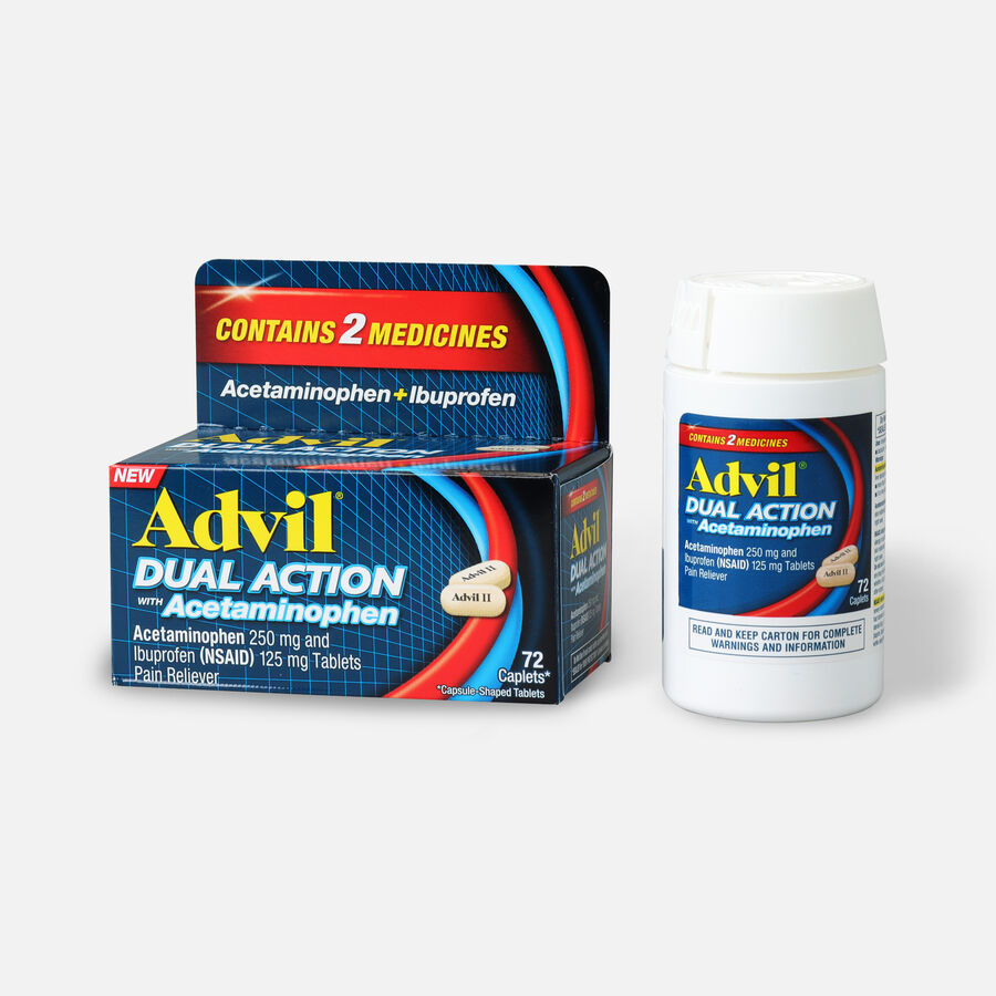 Advil Dual Action Coated Tablets, Acetaminophen + Ibuprofen, 72 ct, , large image number 2