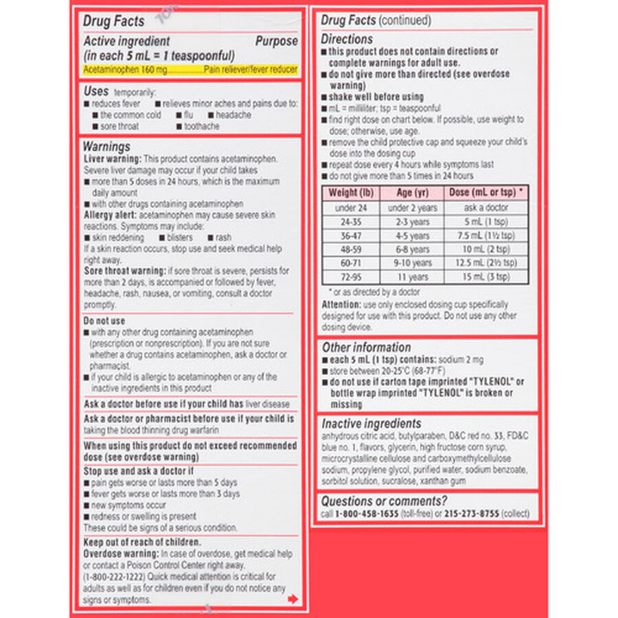 Children's Tylenol Fever Reducer & Pain Reliever, Ages 2-11, Cherry Blast, 4 fl oz, , large image number 2