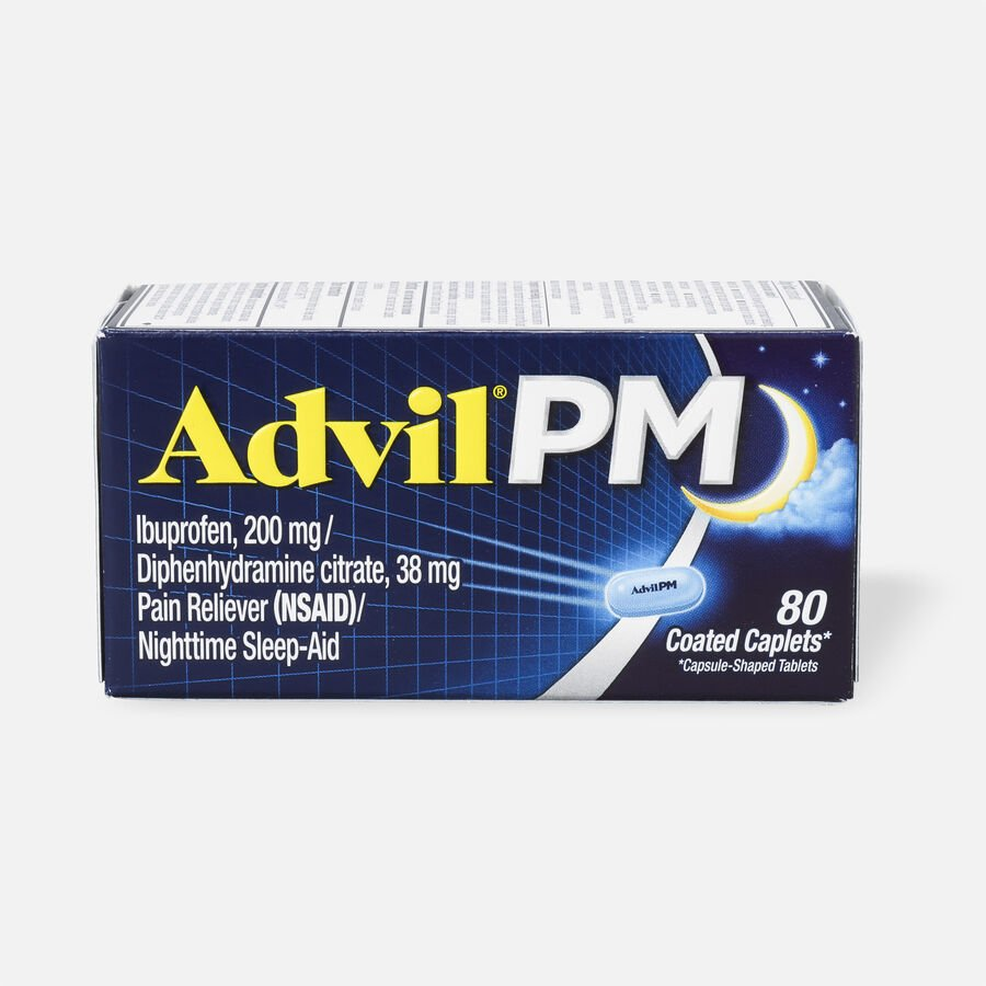 Advil Pain PM Reliever & Nighttime Sleep Aid Coated Caplets, 80 ct, , large image number 1