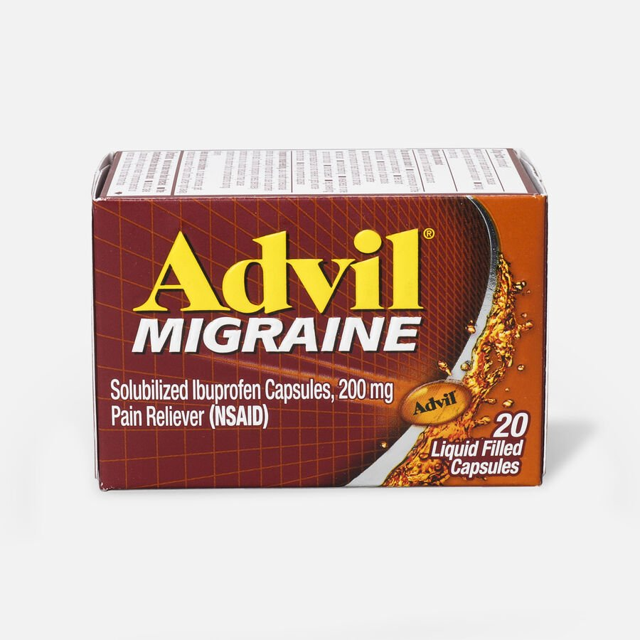 Advil Migraine Pain Reliever and Fever Reducer Liquid Filled Capsules, 200mg, 20 ct, , large image number 1