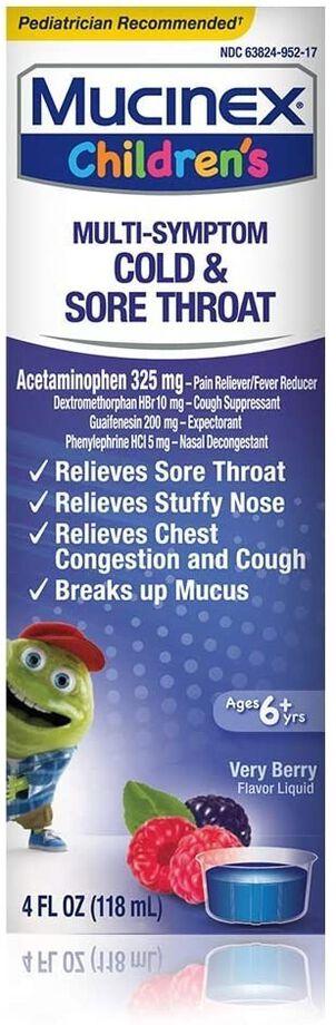 MUCINEX Children's Liquid, Multi-Symptom Cold and Sore Throat