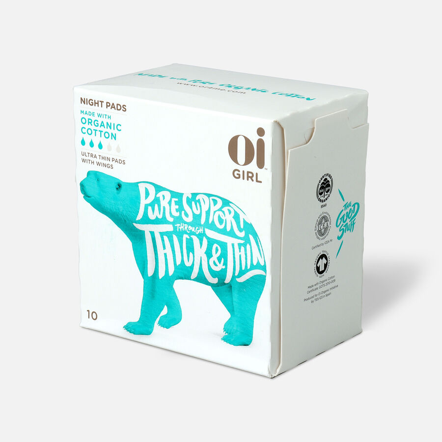 Oi Girl Organic Cotton Ultra Thin Pads with Wings, Night, 10ct, , large image number 0