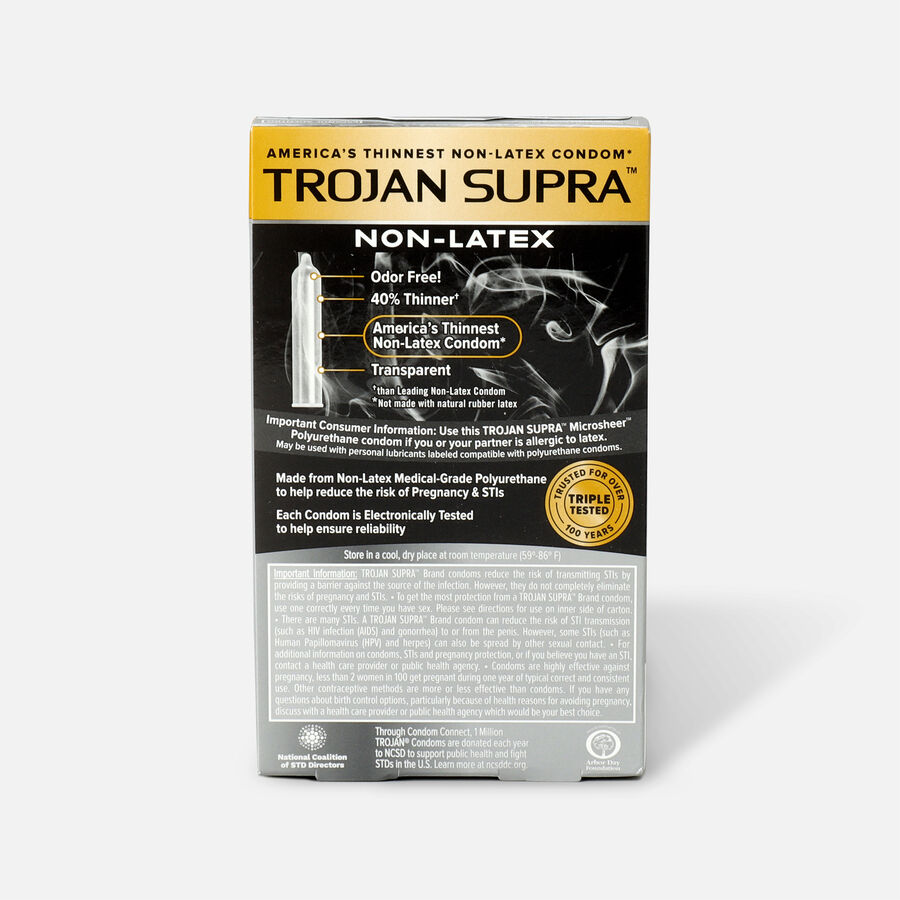 Trojan Supra Microsheer Non-Latex Lubricated Condoms, 6 ea, , large image number 1