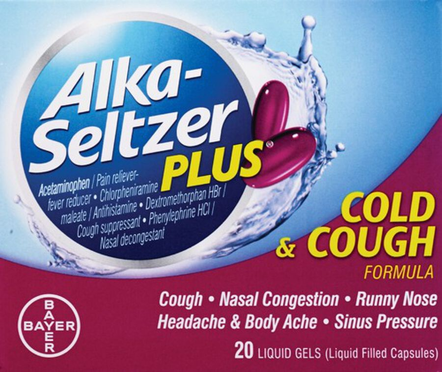 Alka-Seltzer Plus Cold and Cough Liquid Gels, 20ct, , large image number 0