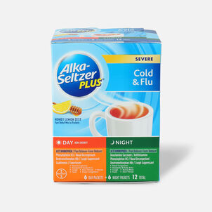 Alka-Seltzer Plus Powder - Severe Cold & Flu, Day & Night Powder Packets, Honey Lemon, 12ct