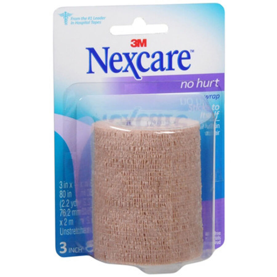 Nexcare No Hurt Self-Adherent Wrap, 3in x 80in, Tan - 1ct, , large image number 0