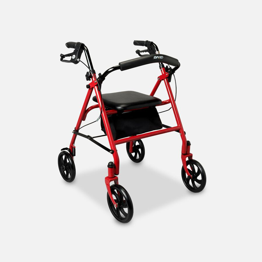 """Drive Aluminum Rollator with Fold Up and Removable Back Support, 7"""" Casters, Red, , large image number 0"""