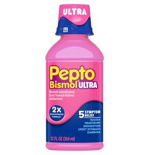 Pepto Bismol Ultra 5 Symptom Stomach Relief Liquid, Original, 12 Oz