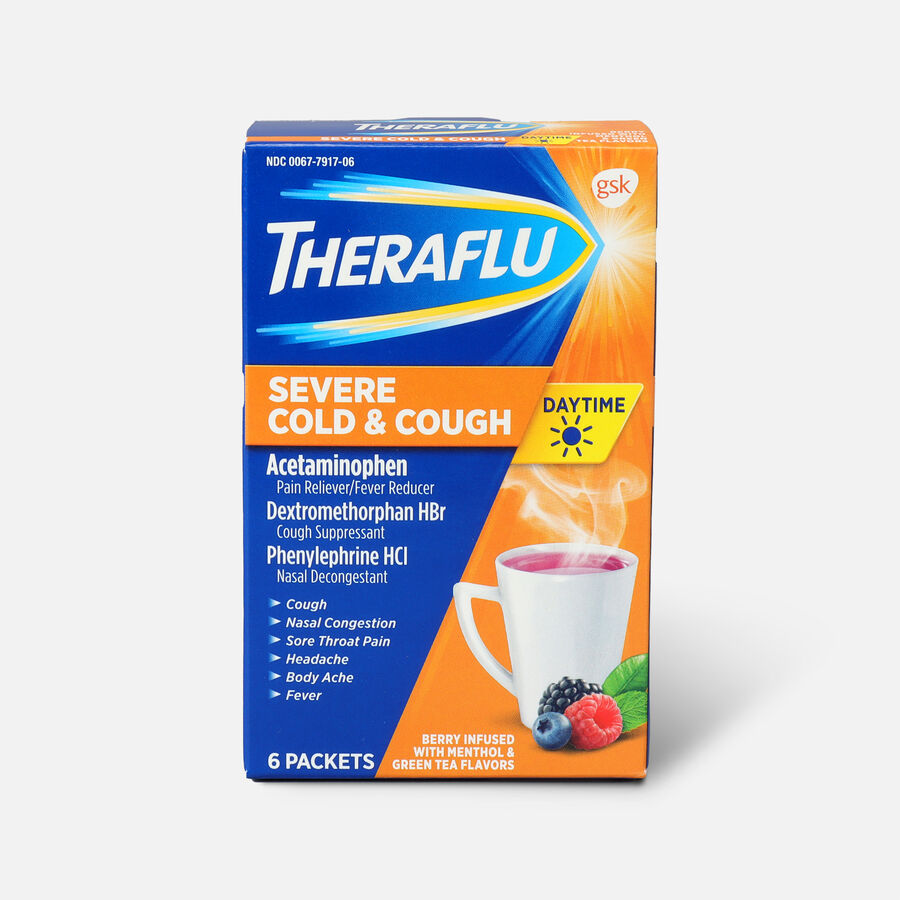Theraflu Day Time Severe Cold & Cough, Berry Infused with Menthol and Green Tea, 6 ct, , large image number 0