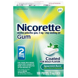 Nicorette Gum Spearmint, 2mg, 100 ct