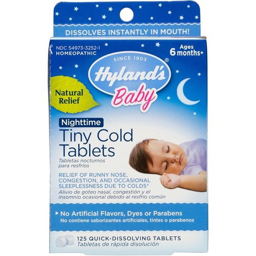 Hyland's Baby Nightime Tiny Cold Tablets, 125 ct, , large image number 0