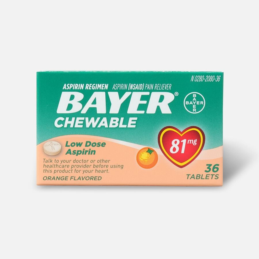 Bayer, Chewable Low Dose Aspirin, 81 mg Tablets, Orange, 36ct, , large image number 0