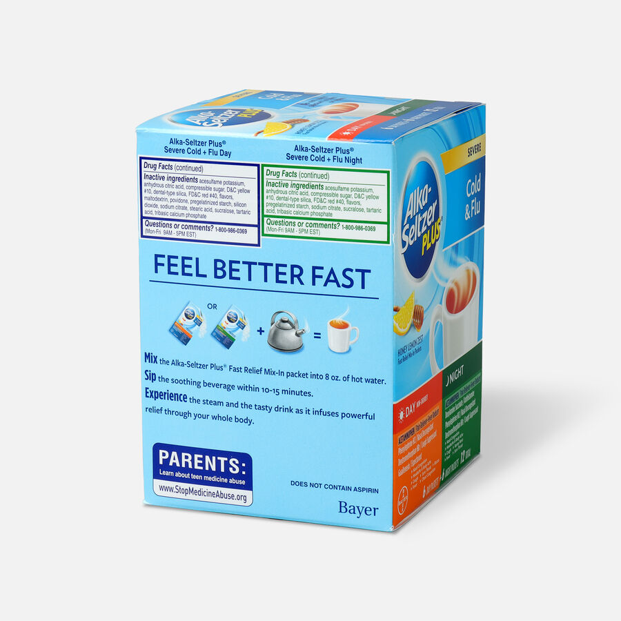 Alka-Seltzer Plus Powder - Severe Cold & Flu, Day & Night Powder Packets, Honey Lemon, 12ct, , large image number 3