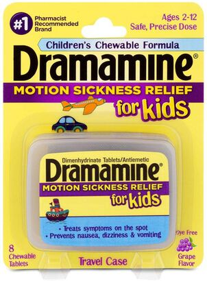 Dramamine Motion Sickness Relief for Kids, Grape Flavor, 8 ct