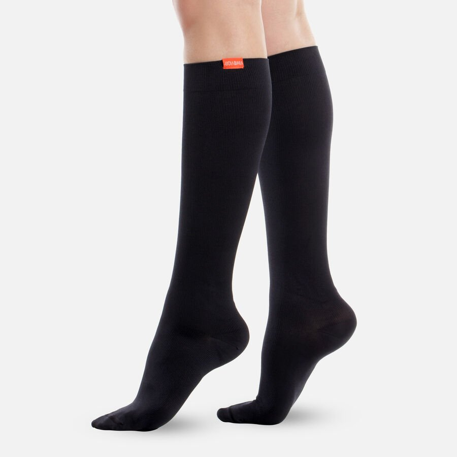 VIM & VIGR Moisture-Wick Nylon Compression Socks, Solid Black, Wide Calf, 30-40 mmHg, , large image number 0