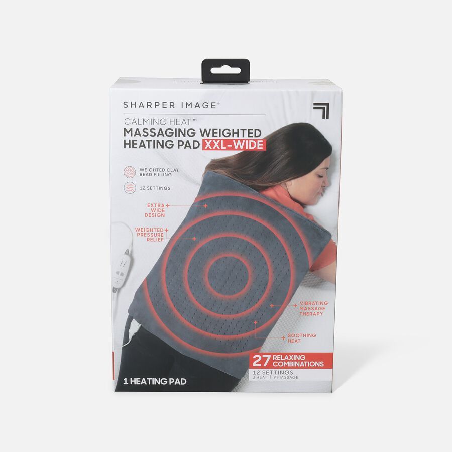 Sharper Image® Calming Heat XXL-Wide Massaging Weighted Heating Pad, 12 Setting, 5lbs, , large image number 0