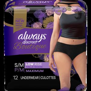 Always Discreet Boutique Low-Rise Postpartum Incontinence Underwear, Size S/M, Maximum Absorbency, Black, 12 Count